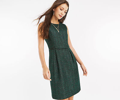 7591ccffc545 OASIS DRESS Tweed GREEN GOLD 1960s Style Pockets Sparkle Sz 8 NEW
