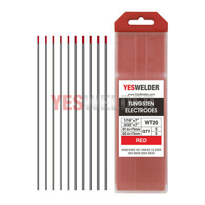 """TIG Welding Tungsten Electrode 2% Thoriated (Red, WT20) 1/16""""-3/32"""" 10-pk"""