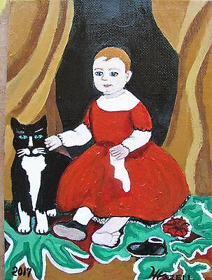 "C346 Original Acrylic Painting By Ljh  ""Young Child With Cat"" American Folk Art"