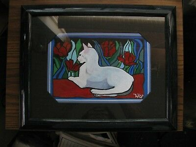 "C119 Original Acrylic Painting By Ljh   ""Mandy The Manx ""      Cat   Kitten"
