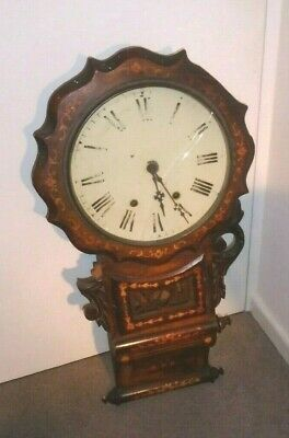 "Antique Profusely Inlaid ""new Haven"",anglo American Wall Clock"