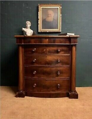 Large Scottish antique Bow Front 5 chest of drawers Victorian c.1880 Mahogany