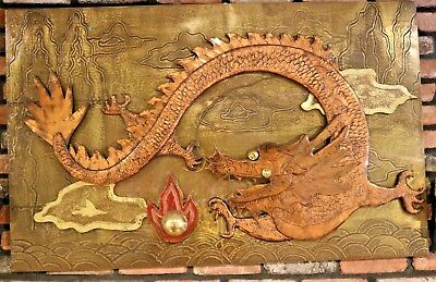 Vintage 1960s Chinese Brass & Copper Dragon Wall Plaque Relief Sculpture 48 x 30