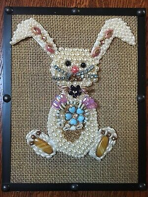 Easter Rabbit Picture Made from Vintage Costume Jewelry ~ Framed Art