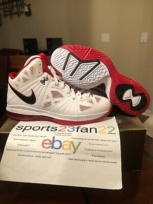 d8dbf6b2b905e Nike LeBron 8 P.S. White Black Sport Red Size 13 Deadstock New In Box NIB