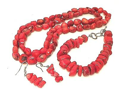 Native Tribal Southwestern 925 Natural Red Coral Necklace, Bracelet & Earrings
