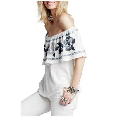 69bd144da30cd Free People • embroidered off the shoulder top size medium womens boho  peasant M