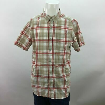 31305382 Mens Columbia Regular Fit Tan Plaid Short Sleeve Button Up Shirt Medium