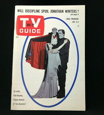 Vintage The Munsters January 1965 TV Guide HERMAN, LILY, GRANDPA *MINT BEAUTY!*