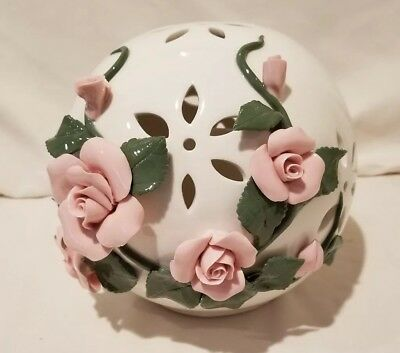 Home Reflections Porcelain Ball Pink Roses and Flameless Candle