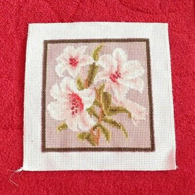 """*NEW*  """"LOVELY LILIES"""" Completed Cross Stitch Needlework Fabric Handmade Picture"""