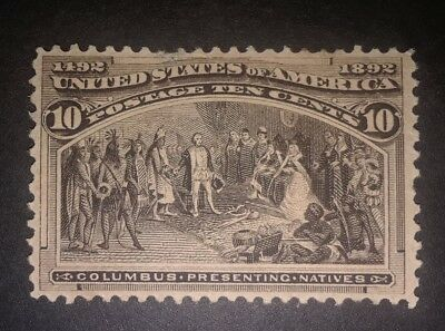 Travelstamps:1893 US Stamps Scott #237 Presenting Natives 10cents mint ng unused