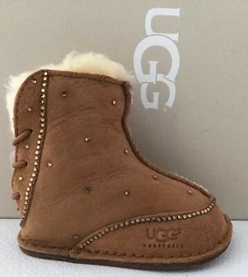 3f484f206d2 UGG AUSTRALIA BABY BOO Suede Embellished With Swarovski Crystal booties  #5206 Sm