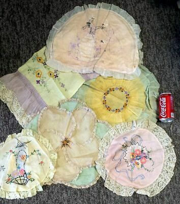 REDUCED 6  Antique French Boudoir Pillow Sham Art Deco vintage lace embroidered