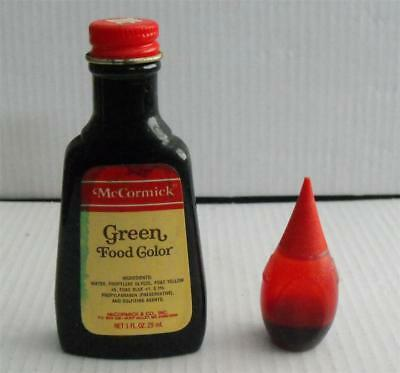 VINTAGE ADVERTISING MCCORMICK Green Food Coloring Glass Bottle & Sm Red  Plastic
