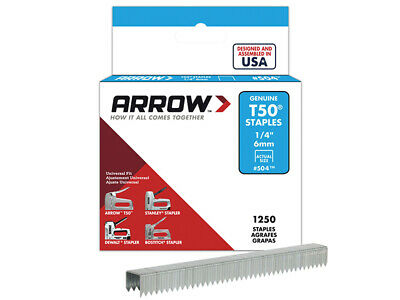 Arrow T50 Staples 6mm (1/4in) Box 1250 ARRT5014S
