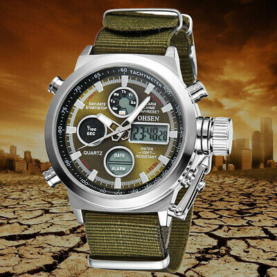 OHSEN Men's LED Waterproof Digital Quartz Alarm Day Date Backlight Sport Watch