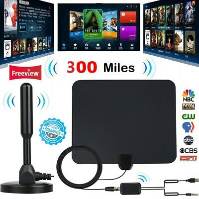 300 Mile HDTV Indoor Antenna Aerial HD Digital TV Signal Amplifier Booster Cable