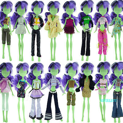 Random 6x Outfits Blouse Shirt Pants Coat Dress Clothes For Monster High Doll