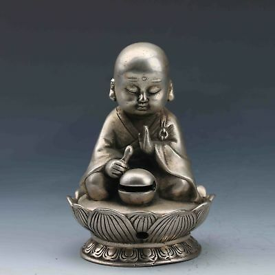 Chinese Buddhism Miao Silver Hand-Carved Incense Burner&Seated Buddha statue RN