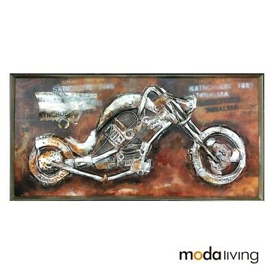 New Framed Hand-Painted Oil Painting Abstract Modern Metal Wall Art Motorcycle