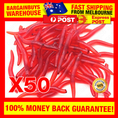 50pcs Scented Soft Rubber Red Worm Fishing Bait Lure