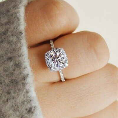Women Engagement Ring Wedding Band White Cubic Zirconia Halo Cushion Cut