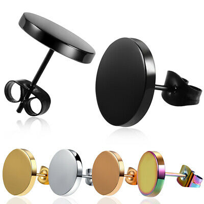 1 Pair Stainless Steel Earrings Round Punk Ear Studs Earrings Women Men Earrings