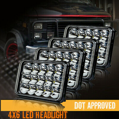 """DOT 6x4"""" inch 15 LED Headlights HID Replace H4666/4651 High/Low Beam 45W Pair"""
