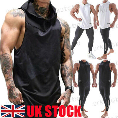 UK Mens Muscle Hoodie Tank Top Gym Workout Sleeveless Vest T-shirt Bodybuilding