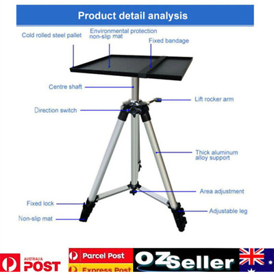 Metal Adjustable Tripod Stand With Tray Projector Laptop Notebook Holder