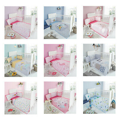 Super Soft Cartoon Baby Cot Bed Bumper Set Coverlet Bumper Jersey Fitted Sheet
