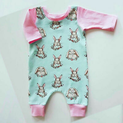 AU Toddler Kid Baby Girl Clothes Easter Bunny Romper Sunsuit Bodysuit Outfit Set