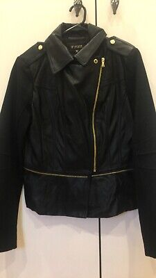 Black 'Guess' Leather Jacket With Suede Sleeves