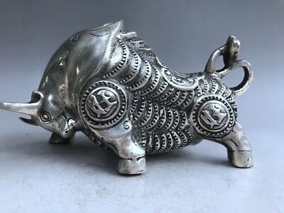 Exquisite Chinese ancient pure copper carved cattle sculpture by hand RR