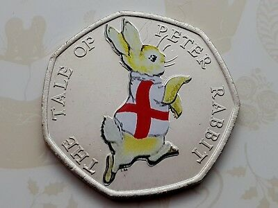 2017 Beatrix Potter PETER RABBIT ENGLAND  Colour decal 50p Uncirculated COIN 🐇