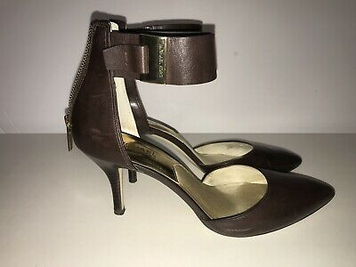 836452051b50 MICHAEL KORS GUILIANA Mid Ankle Strap Dark Brown Leather Heels (SIZE 8.5)