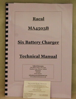 Racal MA4503B Six Battery Charger Technical Manual Professional Photocopy