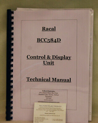 Racal BCC584D Control & Display Unit Technical Manual Professional Photocopy