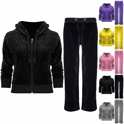Kids Girls Velvet Velour Hoodies Hooded Joggers Loungewear 2PCS Tracksuit Set