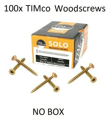 100 x TIMCO SOLO WOOD CHIPPY SCREW YELLOW POZI COUNTERSUNK WOODSCREW
