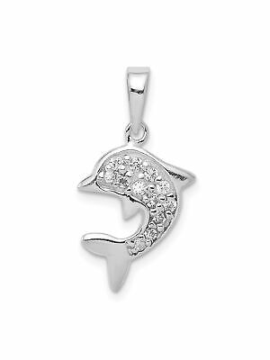 925 Sterling Silver White Cubic Zirconia Dolphine Charm Pendant - 0.97 Grams