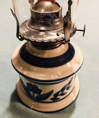 Vtg LAMPLIGHT FARMS Pottery Ceramic Cobalt Blue Colonial Style OIL LAMPS 13.5""
