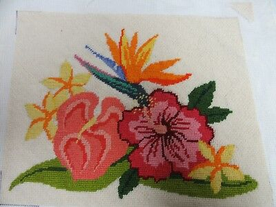 Finished Needlepoint Tropical Hawaiian Flowers Bird Paradise Hibiscus Floral