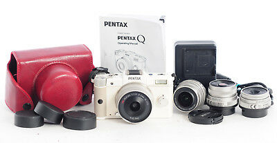 Pentax Q 12.4MP Digital Camera (White) with  4x Prime Lens (4841R)