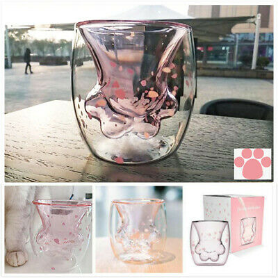 2019 Sakura 6oz Pink Starbucks Cat Cat's Paw Double-layer Glass Mug Cup HOT