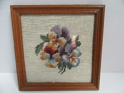 Finished Needlepoint Pansy Bouquet Floral Wood Framed Completed 7x7 Flower