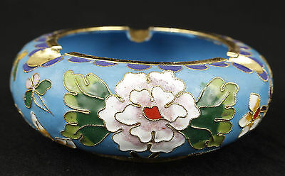 Chinese Exquisite Cloisonne  Handmade Flower Ashtray Ornament