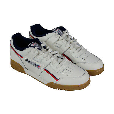 122ffbc9e68 Reebok Workout Plus Mu Mens White Leather Low Top Lace Up Sneakers Shoes