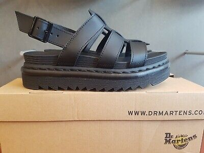 62d4cd26555c New In The Box Dr Martens Yelena Black Hydro Leather 23800001 Sandals For  Women